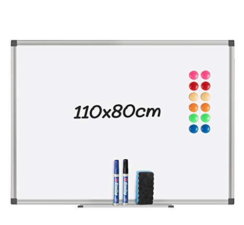 Magnetisches Whiteboard,110 x 80 cm Magnettafel mit Stiftablage&12 magnetischen Partikeln, einem Tafellöscher 2 Whiteboard-Stiften geliefert für Schule, Wohnung und Büro