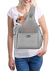 SlowTon Pet Sling Carrier, Manos Libres Papoose Small Animal Puppy Travel Bag Tote Correa Acolchada Ajustable Malla Transpirable Soporte Inferior Duro Cordón