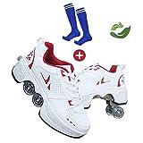 GWYX Roller Skates, Skating-Schuhe Für Männer Und Frauen Automatische Wanderschuhe Für Erwachsene Unsichtbare Riemenscheibenschuhe Skates Mit Zweireihigem Deform-Rad,Red-38