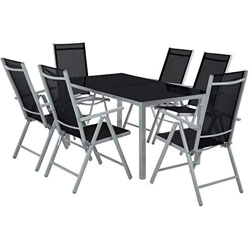 TecTake Salon de Jardin en Aluminium, 6 Chaises et 1 Table en Verre, Ensemble Meubles de Jardin et Terrasse - diverses Couleurs - (Gris argenté)