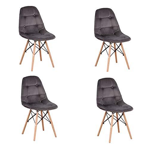 Silla de salón de cuero silla de madera maciza de botón de franela/pu simple silla de computadora de oficina simple (Gray-rb, 4)