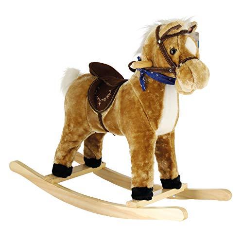Bieco Plüsch Schaukelpferd 73x28x65cm | Schaukeltiere | Pferd zum Draufsitzen und Reiten | Schaukelpferd Baby | Baby Spielzeug ab 9 Monate | Baby Schaukel | Pferde Spielzeug | Pferd Spielzeug Mädchen