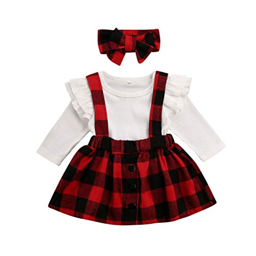 Newborn Baby Girl Suspender Skirt Outfit Set Christmas Ruffle Long Sleeve Plaid Shirts and Overall Skirts+Headband (Red, 0-3Months)