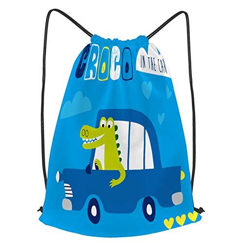 fudin Impermeable Bolsa de Cuerdas Saco de Gimnasio Ilustración de vector de lindo coche de cocodrilo Deporte Mochila para Playa Viaje Natación