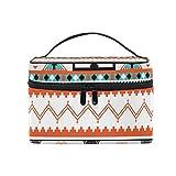 ALARGE Bolsa de maquillaje tribal étnico azteca geométrico, grande, bolsa de cosméticos, bolsa de viaje portátil, bolsa de aseo para mujeres y niñas