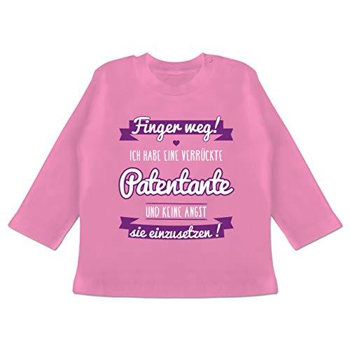 Sprüche Baby - Ich Habe eine verrückte Patentante lila - 6/12 Monate - Pink - Baby Patentante Spruch - BZ11 - Baby T-Shirt Langarm