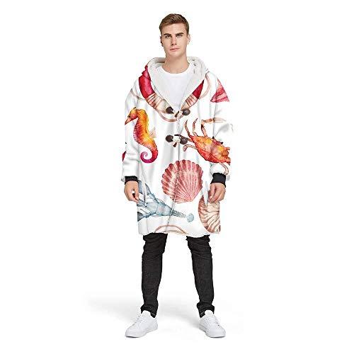 Hcxbb-g onderzeese dierenjas dekens, met hoorn gesp fleece luie bank werpt winter, warme capuchon trui jas dekens voor mannen en vrouwen