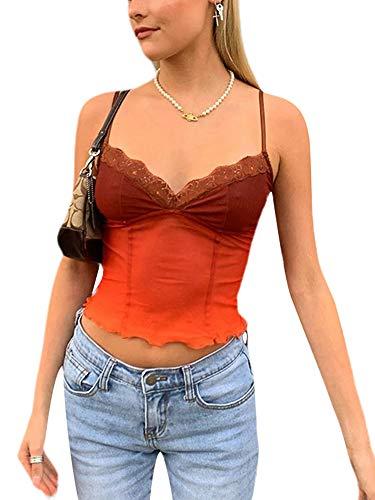 Crop Top sin mangas con encaje para mujer sexy cuello en V chaleco Dentro Chic Vintage Casual Verano Marrón, Rosa 1, S