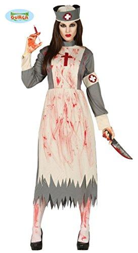 Guirca Horror-Krankenschwester Halloween-Kostüm für Damen Weiss-grau-rot - L (42-44)