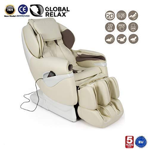 SAMSARA® 2D Massagestoel - Beige (model 2020) - Elektrische ontspanningsbank met shiatsu - Pressotherapiestoel, nul zwaartekracht, warmte en USB - 5 Jaar Garantie