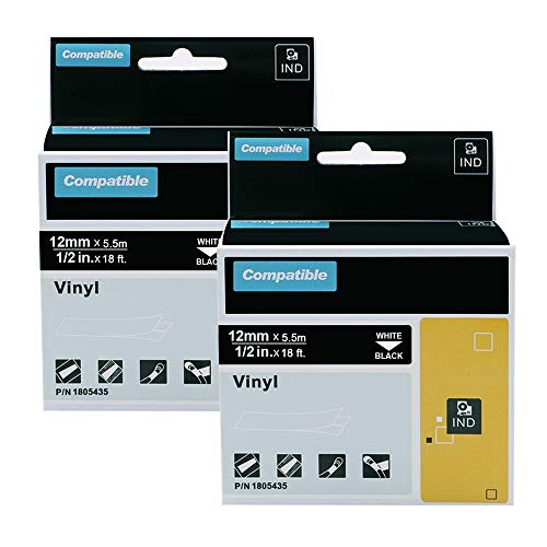 """Aonomi Compatible Industrial Label Tapes Replacement for DYMO 1805435 Permanent Vinyl Label Tape for DYMO Rhino 4200, 5200, 5000, 6000 Industrial Label Maker, (White on Black, 1/2"""" x 18'),2-Pack"""