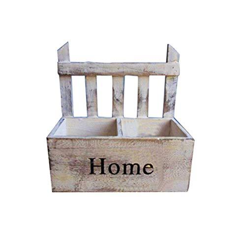 lossomly Maceta colgante de pared, macetero, jardinera de madera, retro, macetero colgante de pared, decoración hecha a mano, cesta de flores, para interior y exterior