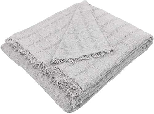 Regalitostv (230_x_250_cm, Gris) Colcha Multiusos Foulard Plaid Liso Mod: TORROX para Cama o sofá Fabricado EN ESPAÑA