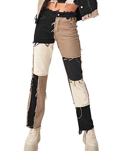 Jeanshose, für Damen, schwarz, Taschen an der hohen Taille, Patchwork, gerader Schnitt, Denim Gr. S, B-a