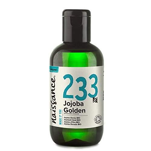 Naissance olio di Jojoba d'Oro Certificato Biologico 100ml - puro al 100%, Pressato a Freddo, Vegan, Cruelty Free, senza OGM, per l'idratazione della pelle e dei capelli