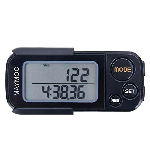 MAYMOC 3D Pedometro e Step Tracker per Walking Steps Km/Km Preciso Portable Clip on Sports Fitness Daily Target Monitor Esercizio Distance Calorie Counter con Cordino e 30 Giorni di Memoria (Nero)