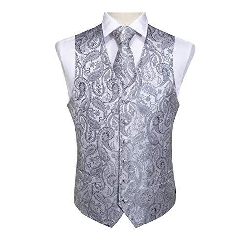 YZRDY Boda de los Hombres de Seda Chaleco Corbata pañuelo de Las Mancuernas del pañuelo fijado for el Smoking del Juego Slim fit (Color : MJ 103, Size : M.)