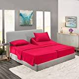 Nestl Deep Pocket Split King Sheets: 5 Piece Split King Size Bed Sheets with Fitted Sheet, Flat Sheet, Pillow Cases - Extra Soft Bedsheet Set with Deep Pockets for Split King Mattress - Hot Pink