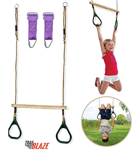 Trailblaze Premium Trapeze Swing Bar - Monkey Bars for Kids Swing Set Accessories Buckle Straps Connect to Ninja Warrior Obstacle Course for Kids   Playground Backyard Jungle Gym Outdoor Rope Swing