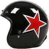 ZHXH Casco de fibra de vidrio, Casco 3/4 desmontable de cara abierta para hombres Four Seasons de Harley Adult Vintage, certificación Dot y estándar Ece,