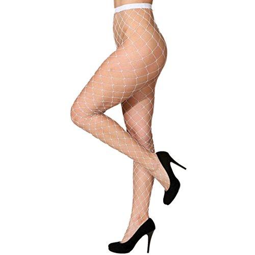 Amakando Strumpfhose - weiß - Damenstrumpfhose Fishnet Strümpfe Netzstrümpfe Damen Reizwäsche Netzstrumpfhose grobmaschig