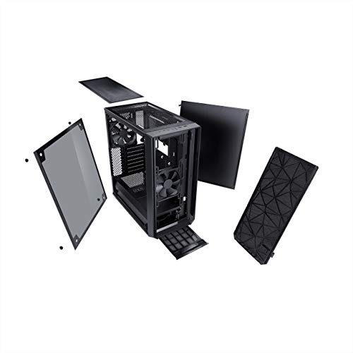 Fractal Design Meshify C - Compact Custodia computer - Ottimizzato per flusso d'aria elevato e elaborazione silenziosa - Predisposto al raffreddamento ad acqua - USB3.0 - Vetro temperato - Blackout