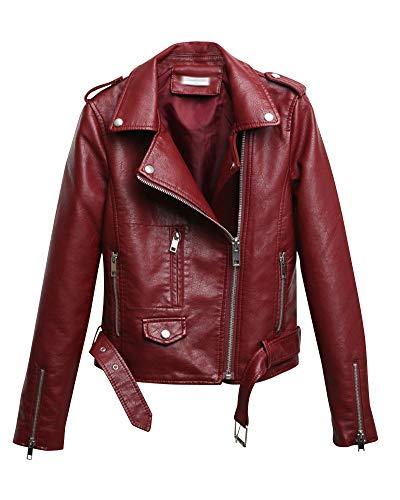 Shaoyao Cazadora Mujer Chaqueta Biker De Cuero Sintético con Cremallera Asimétrica Y Cinturón Vino Rojo S