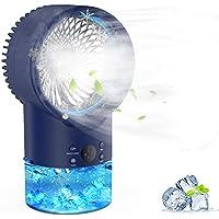EEIEER 3 Speeds 2/4H Timer 7 Colors LED Light 2 Misting Modes Humidifier Quiet Mist Cooling Desk Fan