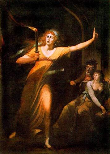 Pintura por número para adultos y kit de pintura infantil para principiantes lienzo preimpreso sin marco-Johann Heinrich Füssli Pintura famosa La sonámbula Lady Macbeth