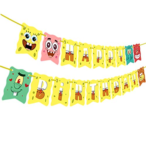 Sponge-Bob Birthday Banner, SpongeBob Birthday Theme Party Supplies, Sponge-Bob Birthday Party Decoration