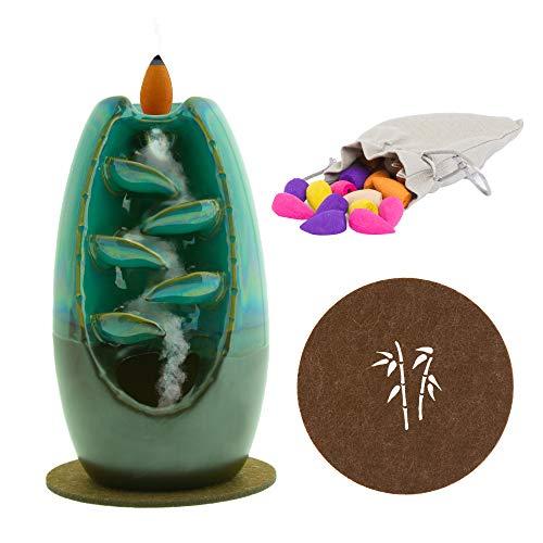 Oshca UK Rückfluss-Räuchergefäß, Wasserfallbrenner, handgefertigt, Keramik, Aromatherapie, Ornament, Heimdekoration, mit Geschenktüte mit Kegeln