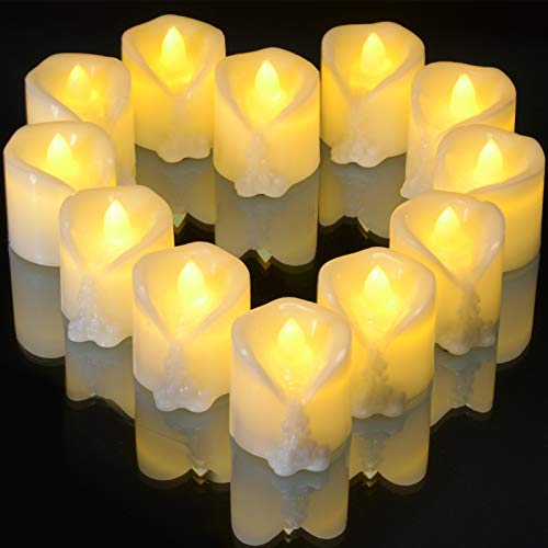 Flameless Candles with 6 Hours Timer, Ymenow 12pcs CR2450 Battery Operated LED Electric Tealight Bulk Flickering Bright Tea Lights with Dripping Wax for Home Christmas Wedding New Year Party Decor