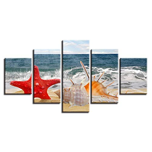 QAZWSY Home Decor Woonkamer afdrukken Art Pictures 5 Stuks Zeester Conch Strand Zeegezicht Canvas Schilderij Poster 30x40 30x60 30x80 CM No Frame