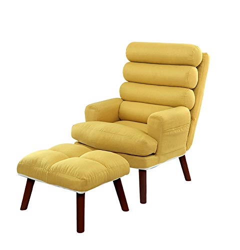 LC-SHBAGS Ohrensessel Handstuhl, Sessel, Verstellbare Rückenlehne, 4 Weiche Rückenkissen Mit Fußstütze, Stilvolle Stuhlbeine Aus Massivholz Yellow