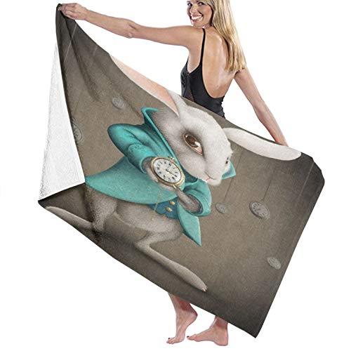 TISAGUER Toalla de baño de Microfibra Conejo de Elegancia Blanca Indica el Reloj Suave Absorbente Hoja de baño de para el hogar,los baños,la Piscina Toallas Baño Toalla de Playa