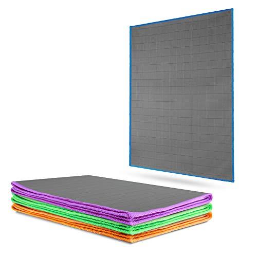 CARBOTEC® 4X Premium Carbon Microfaser Glastücher - 50x40cm - fusselfreie Mikrofasertücher für streifenfreie Scheiben & Fenster - Poliertuch aus Carbonfaser - Auto Microfiber Putztuch/Waffeltuch