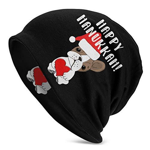 HUXINGXINGzhuangse Happy Hanukkah Dog Adult Men's Knit Hat Casual Beanie Hat Unisex Black