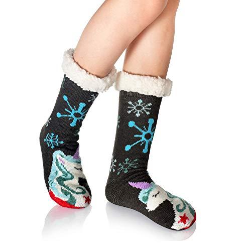 WYTartist Damen Stopper Socks Warm ABS House Socks Soft Cuddly Cottage Sole Thick Slippers Socks Winter with Non-Slip Nubs Christmas Socks 35-42 (Snowflake Unicorn)