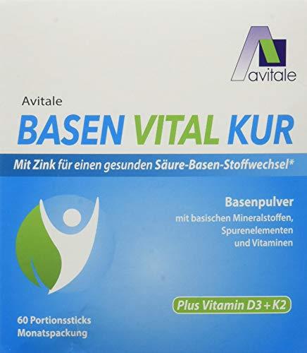 Avitale Basen Vital Kur Sticks plus Vitamin D3 + K2 mit Zink für einen ausgeglichenen Säure-Basen-Haushalt, 60 Stück
