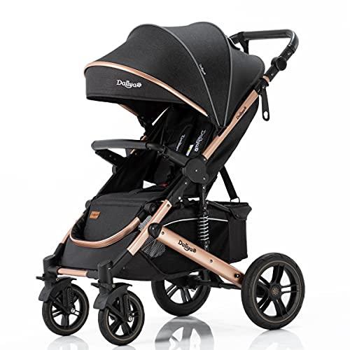 Daliya® Rapidy Buggy Kinderwagen 0-36 Monate Sportwagen mit Liegeposition Wickeltasche, Winterfußsack, Ess- & Spieltisch und mehr (Schwarz - Gold)