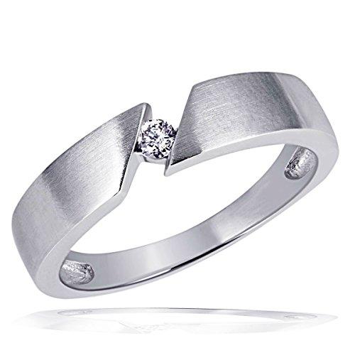 goldmaid Damen-Ring Weiss Gold 585 Solitär 1 Brillant 0,07 Karat Schrägfassung So R523WG54 Schmuck