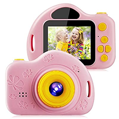Kids Video Camera Digital Toy Camera for Girls Boys Toddlers 3-10 Year Old Birthday Gifts, 1080P HD Shockproof Rechargeable Video Recorder Player with 2 Inch IPS Screen, Pink from IKALULA