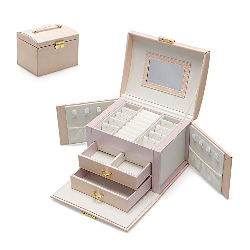 Jewellery Box Earring Rings Jewellery Organiser with 2 Drawers Portable PU Leather Small Jewelry Storage Case with Mirror and Lock Gift for Women Girls (pink)