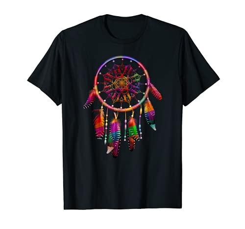 Colorido Atrapasueños Plumas Tribal Nativo Americano Indio Camiseta