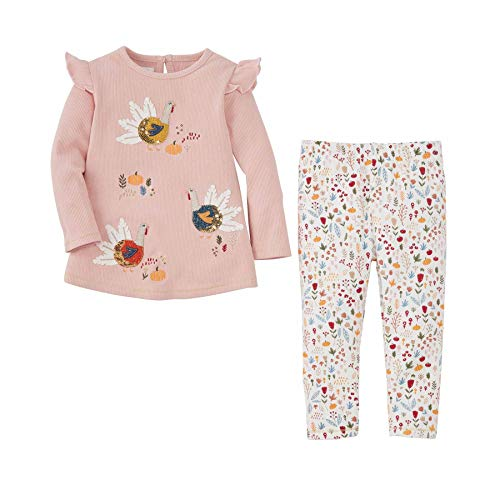 Mud Pie Baby Girls' Turkey Tunic and Legging Set, Pink, 6-9 Months