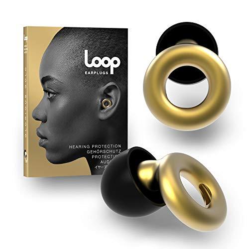 Loop Tapón Para Los Oídos Con Reducción De Ruido - Quita Sonido 20 DB - Accesorios Protección Auditiva, Natación, Concentración, Motos - Auriculares De Silicona Y Espuma - Dorado Glorioso