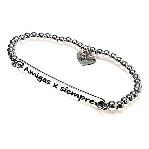 925m Silber Armband elastische Folie Gesetz AMIGAS X SIEMPRE [AB0247GR] - kundengerecht - AUFNAHME IN PREIS ENTHALTEN