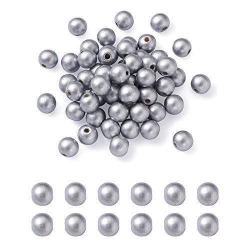 Cheriswelry 600 cuentas de madera de plata de 8 mm con forma de bola redonda natural, espaciador de madera, para joyas, pulseras, manualidades, agujero: 2,5 mm
