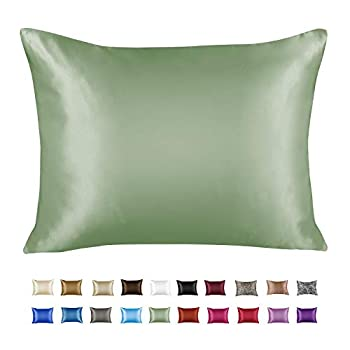 ShopBedding Luxury Satin Pillowcase for Hair – King Satin Pillowcase with Zipper Sage  1 per Pack  – Blissford