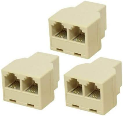VISTRIC 3-Pack, Phone Line Splitter, RJ11 Female to Dual Female Sockets, Split one Line for 2 Devices. Works with Telephones, Fax-Machines, Answering-Machines, Cordless-Phones. Ivory Color